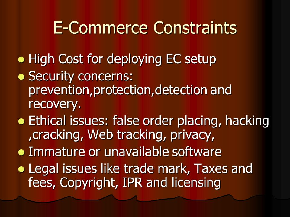 E-Commerce Constraints