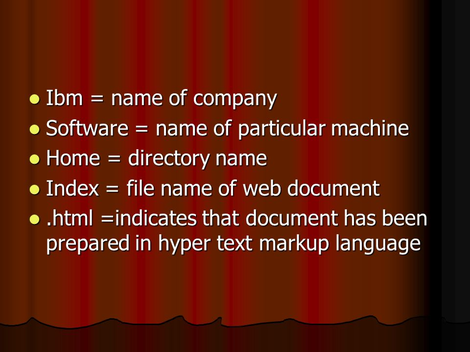 Ibm = name of company Software = name of particular machine. Home = directory name. Index = file name of web document.