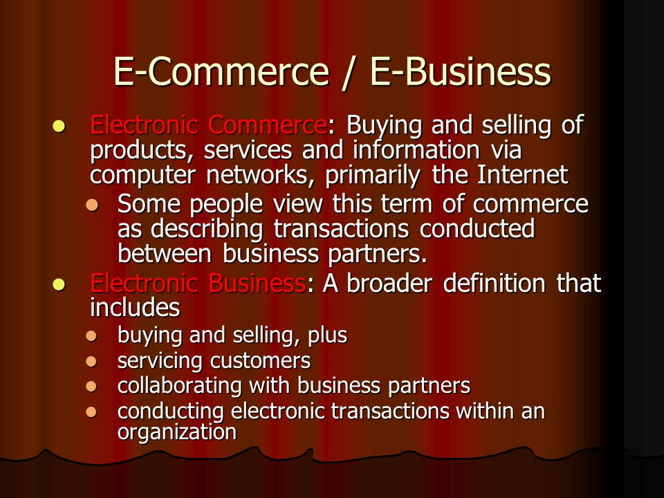 E-Commerce / E-Business