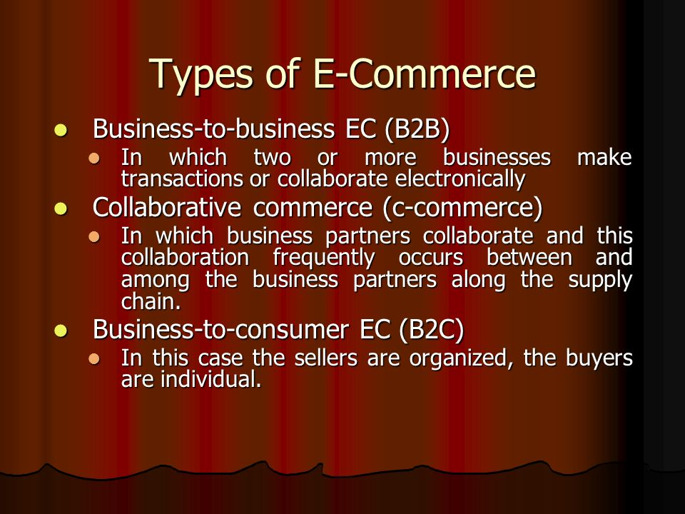 Types of E-Commerce Business-to-business EC (B2B)