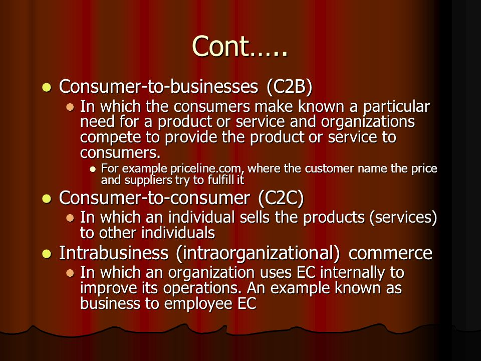 Cont….. Consumer-to-businesses (C2B) Consumer-to-consumer (C2C)