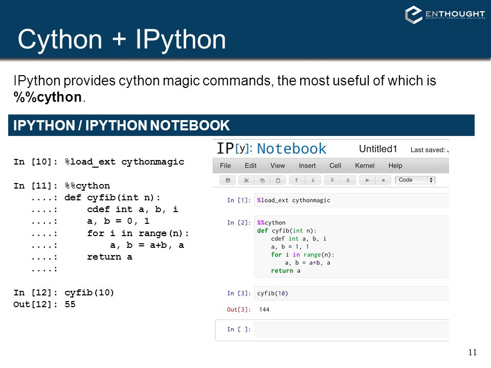Cython + IPython IPython provides cython magic commands, the most useful of which is %%cython. IPYTHON / IPYTHON NOTEBOOK.