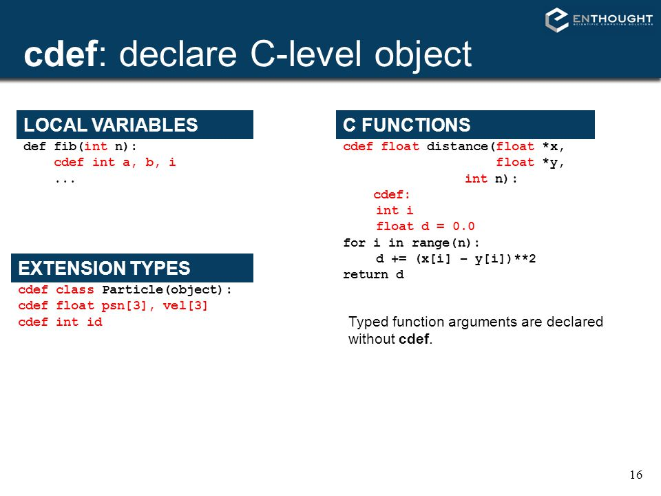 cdef: declare C-level object