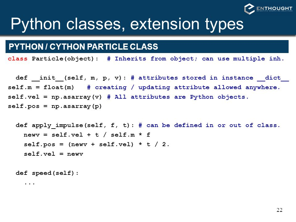 Python classes, extension types