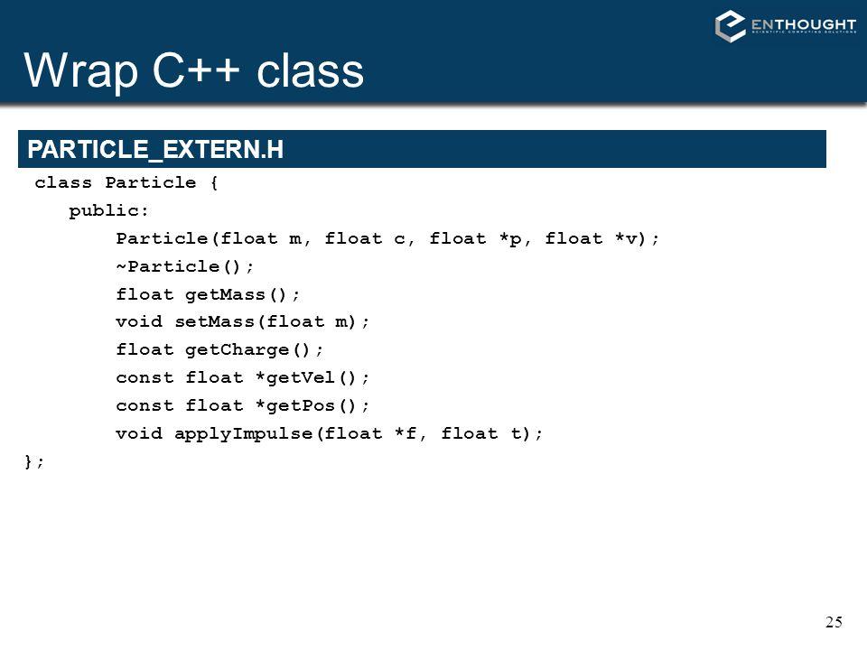 Wrap C++ class PARTICLE_EXTERN.H class Particle { public:
