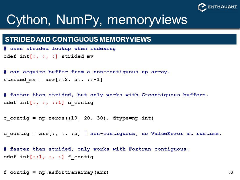Cython, NumPy, memoryviews