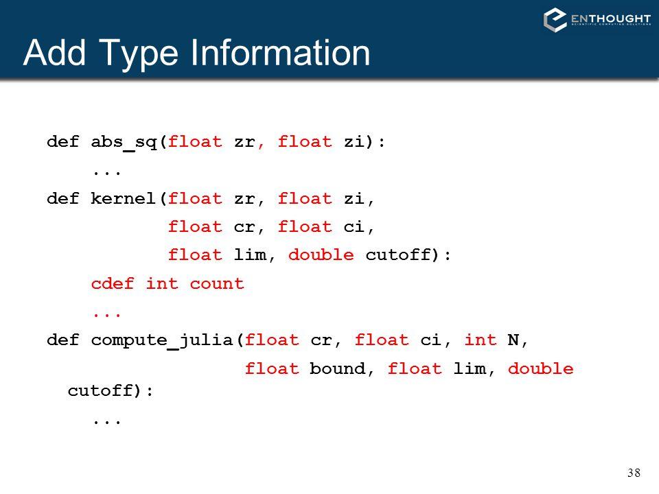 Add Type Information def abs_sq(float zr, float zi): ...