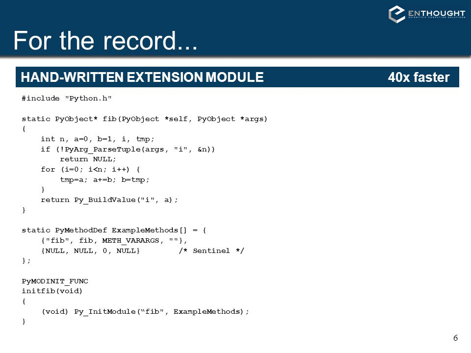 For the record... HAND-WRITTEN EXTENSION MODULE 40x faster