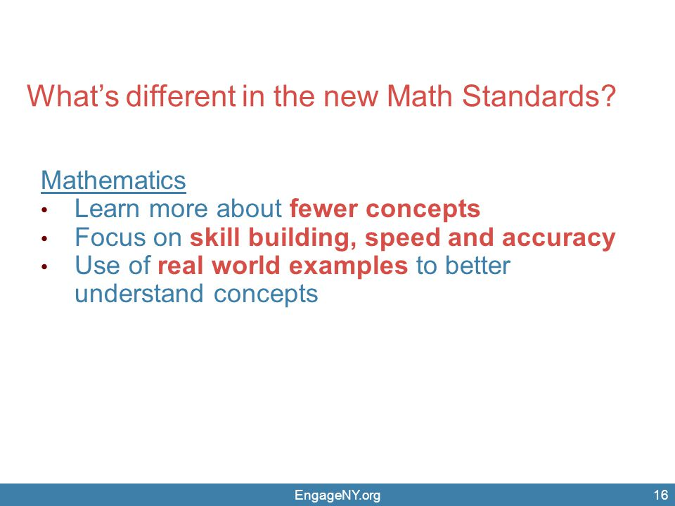 What's different in the new Math Standards