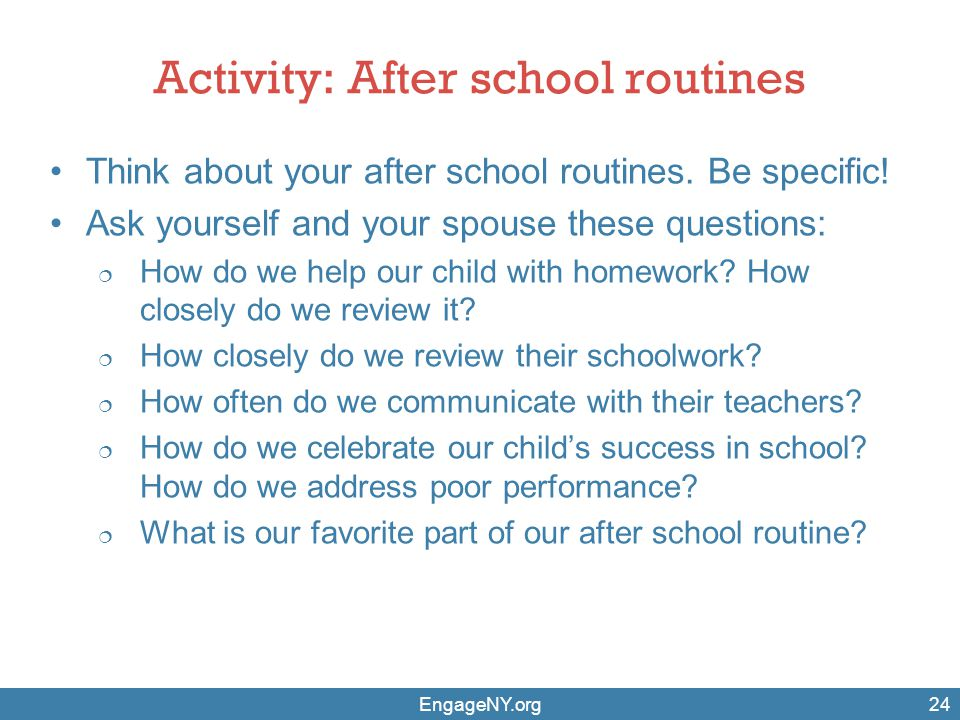 Activity: After school routines