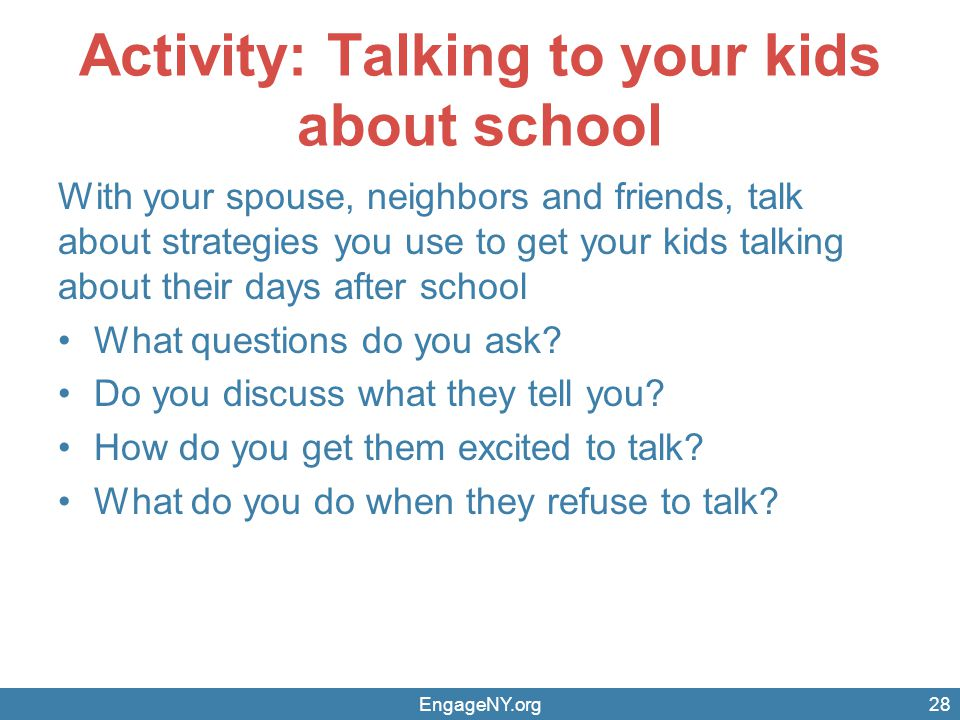Activity: Talking to your kids about school