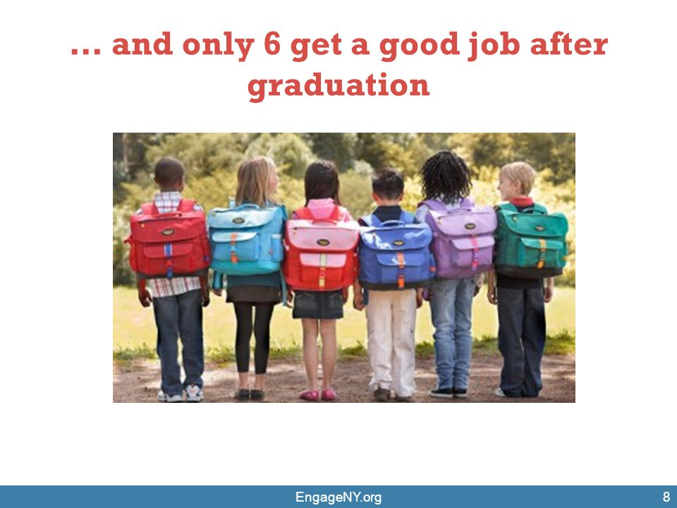 … and only 6 get a good job after graduation