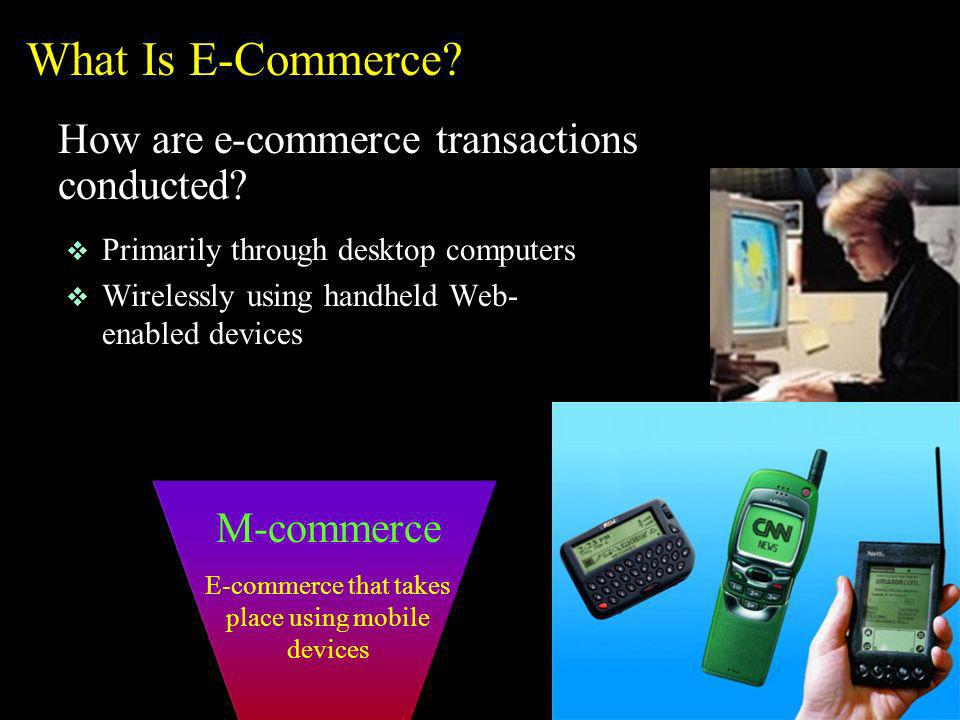 E-commerce that takes place using mobile devices