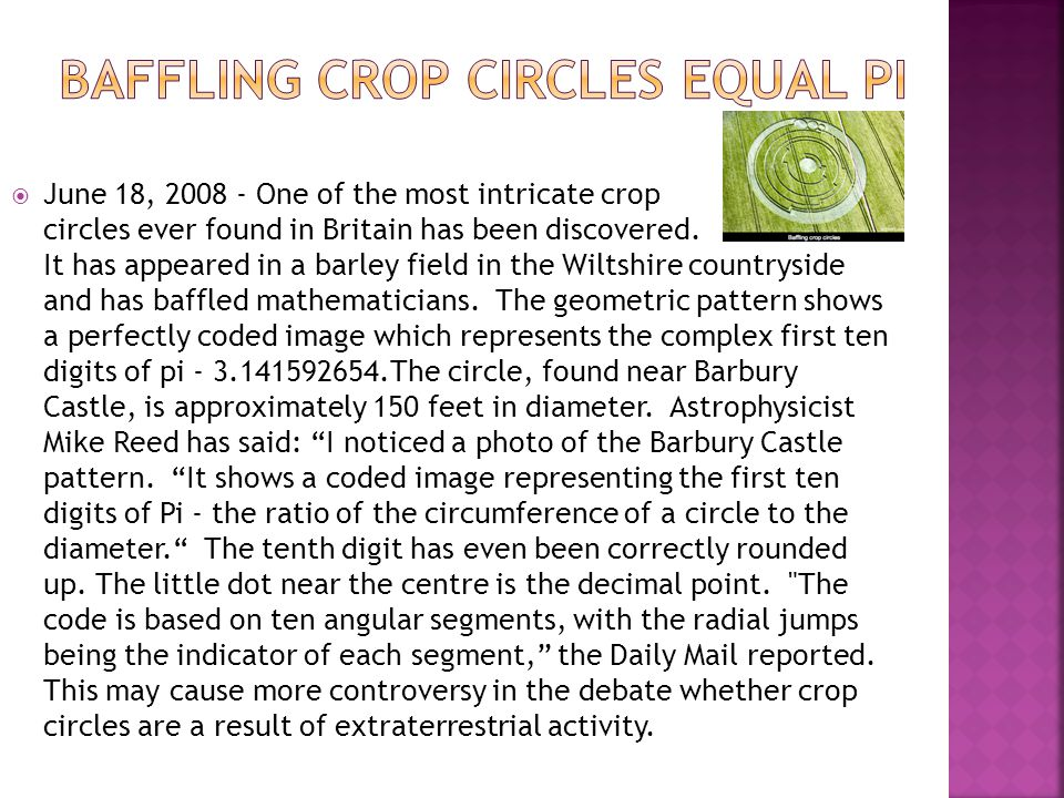 Baffling crop circles equal pi
