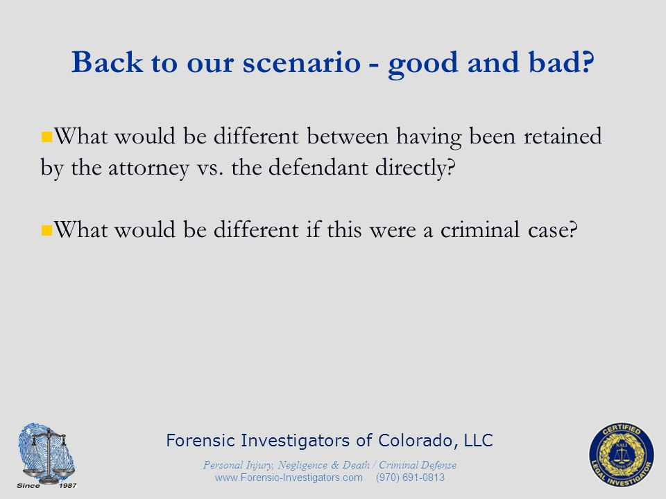 Back to our scenario - good and bad