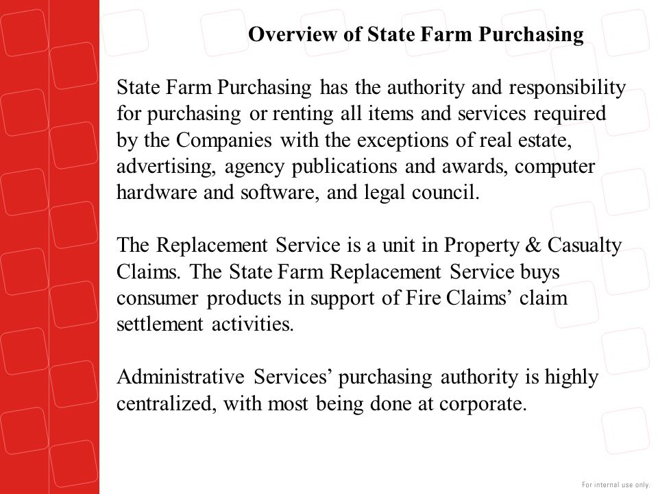 Overview of State Farm Purchasing