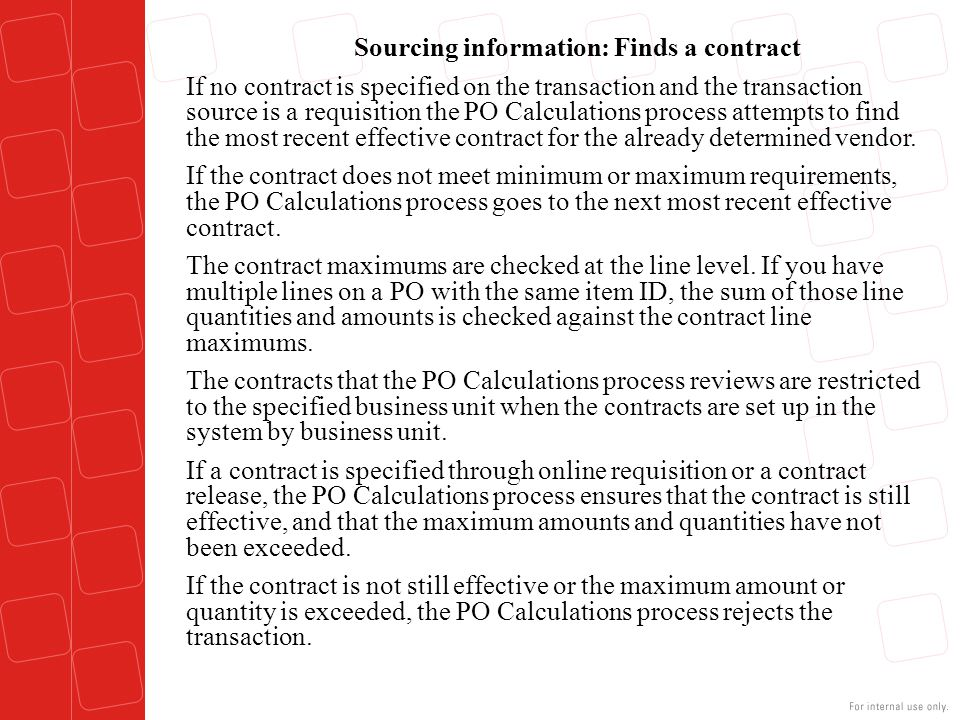Sourcing information: Finds a contract