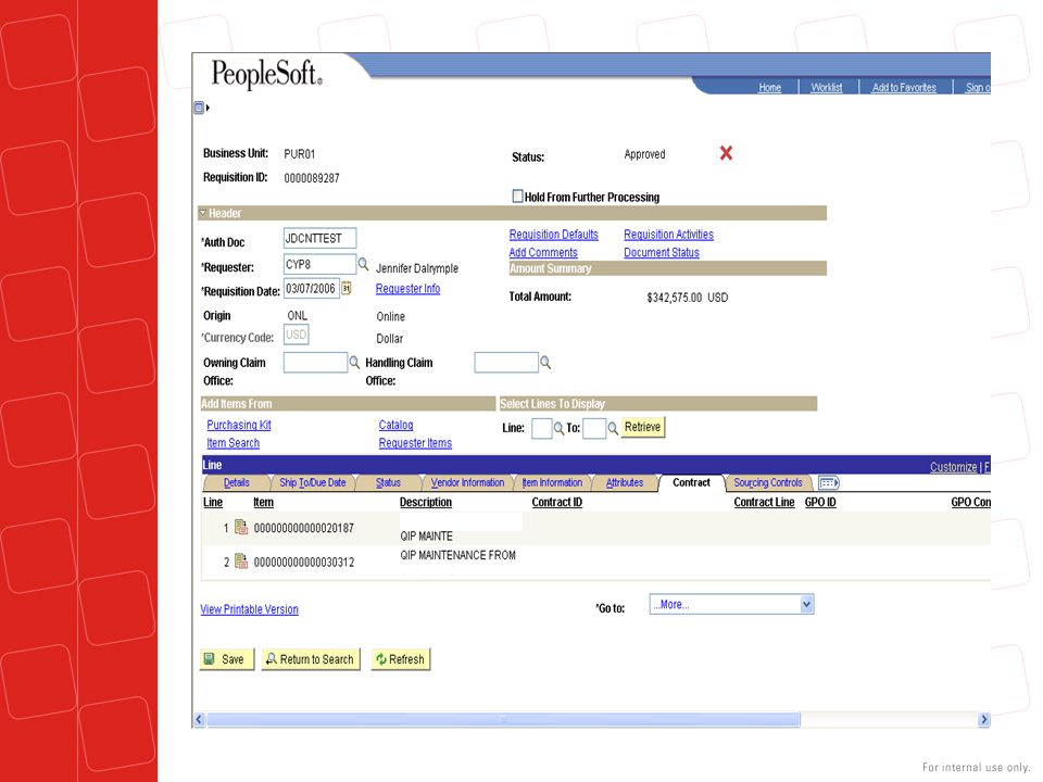 The PeopleSoft contract can be added at the requisition if it is known