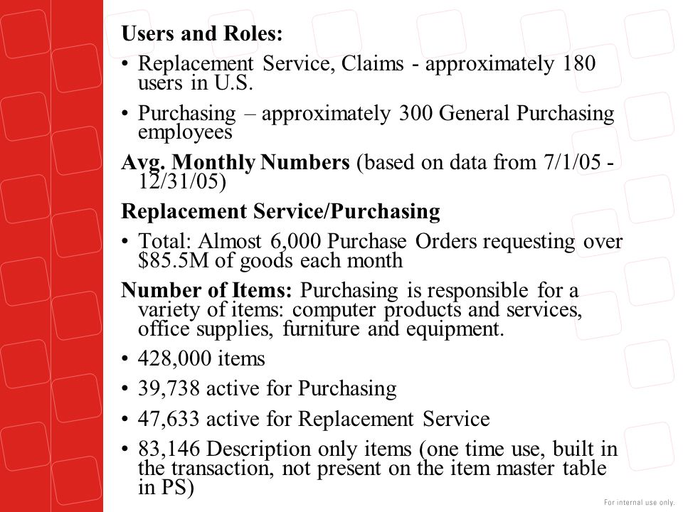 Users and Roles: Replacement Service, Claims - approximately 180 users in U.S. Purchasing – approximately 300 General Purchasing employees.