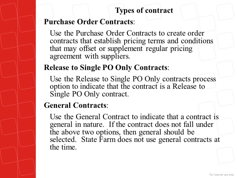 Purchase Order Contracts: