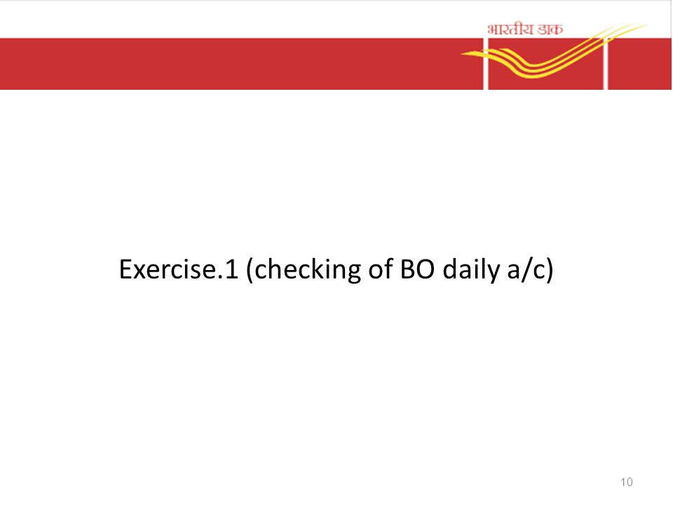 Exercise.1 (checking of BO daily a/c)