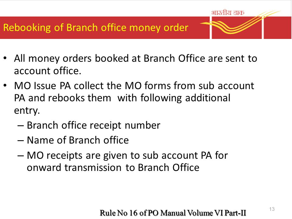 Rebooking of Branch office money order