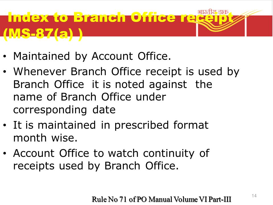 Index to Branch Office receipt (MS-87(a) )