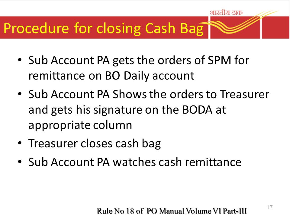 Procedure for closing Cash Bag