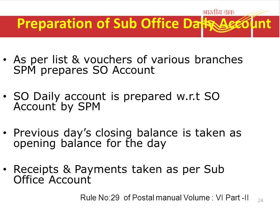 Preparation of Sub Office Daily Account