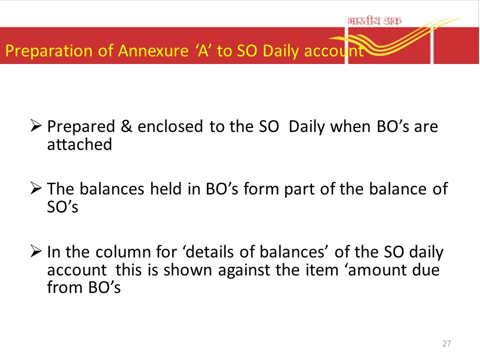 Preparation of Annexure 'A' to SO Daily account