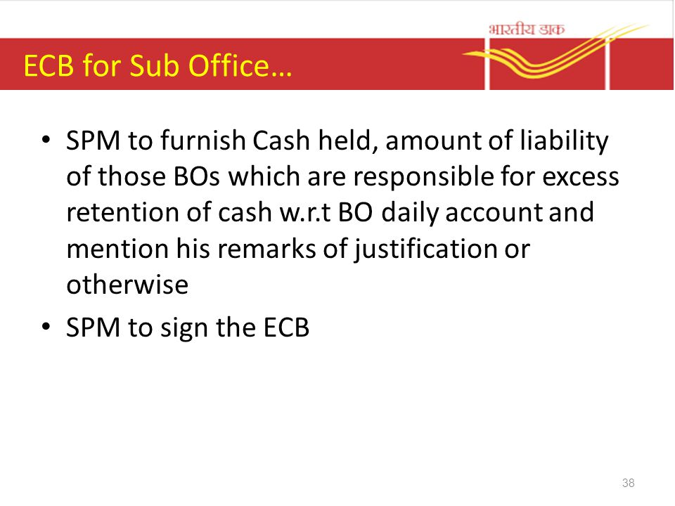 ECB for Sub Office…