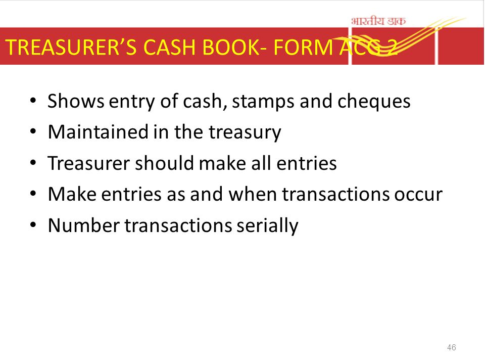 TREASURER'S CASH BOOK- FORM ACG 2