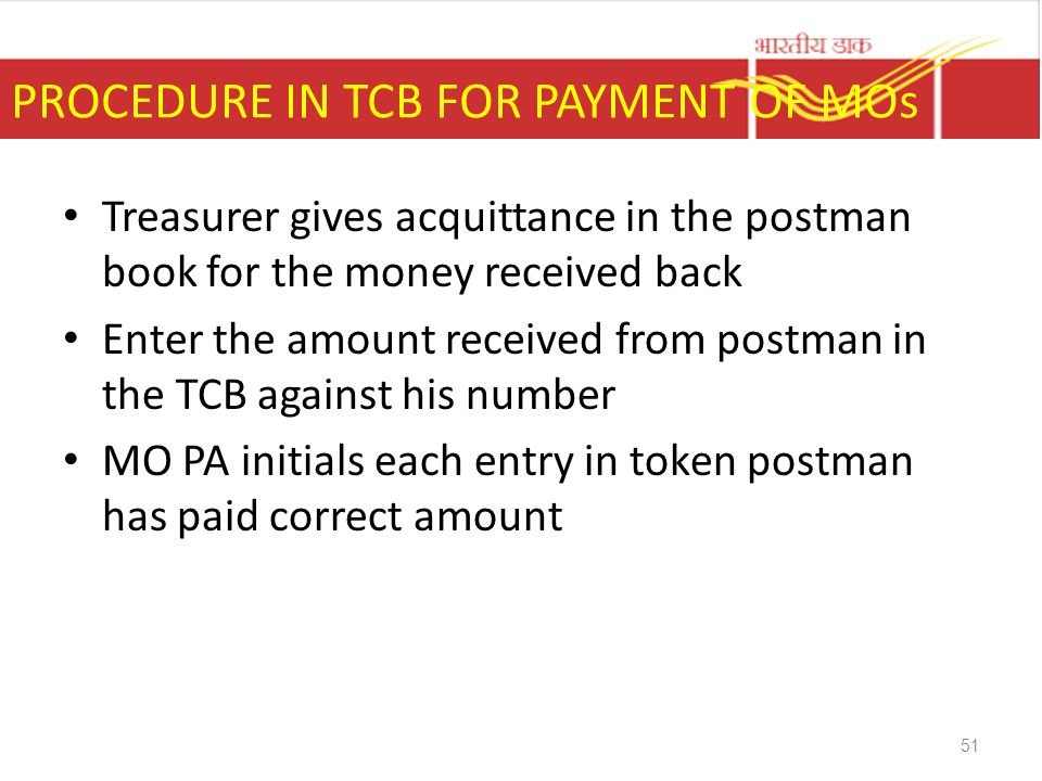 PROCEDURE IN TCB FOR PAYMENT OF MOs