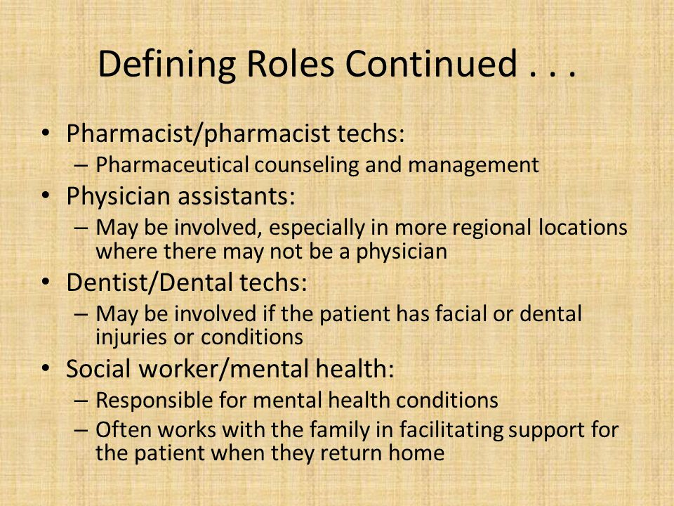 Defining Roles Continued . . .