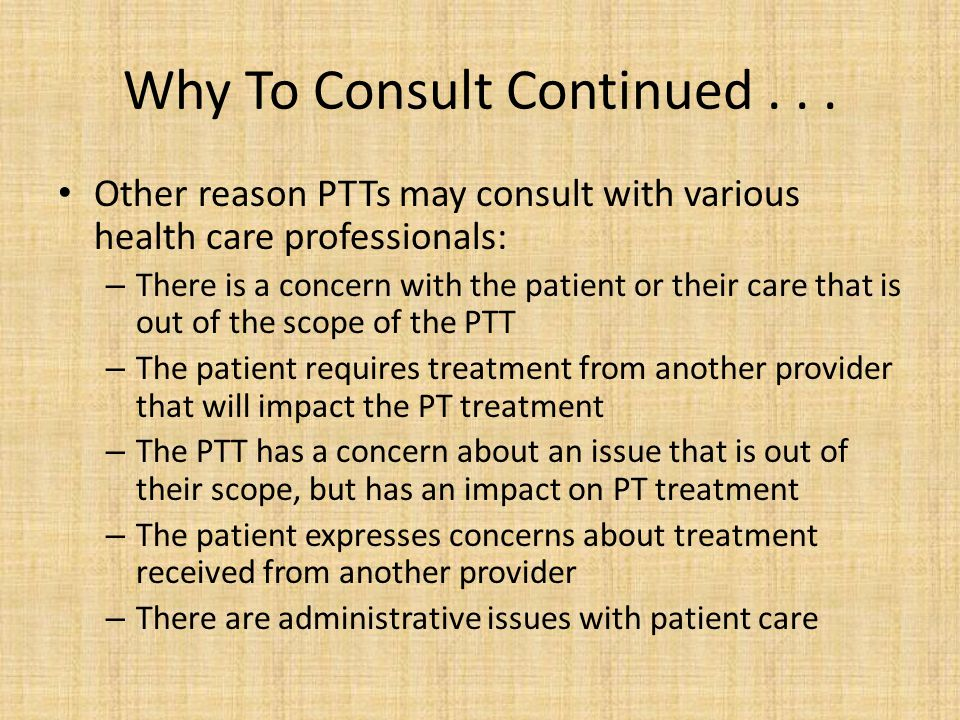Why To Consult Continued . . .