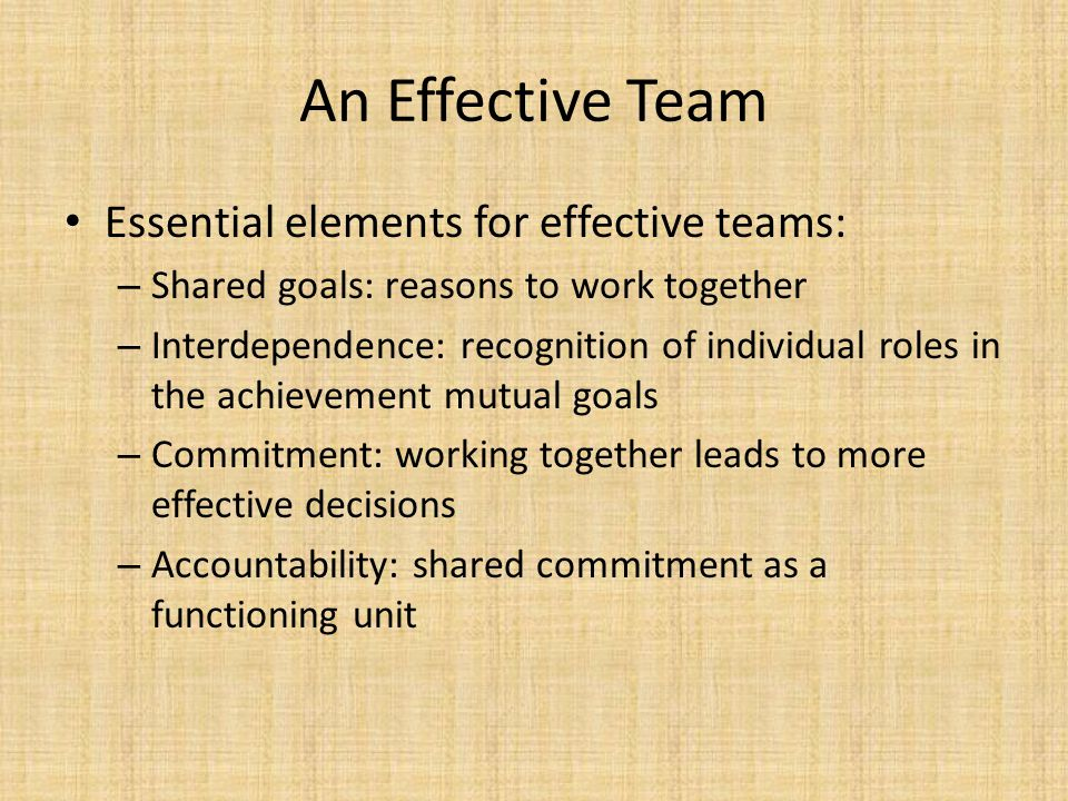 An Effective Team Essential elements for effective teams:
