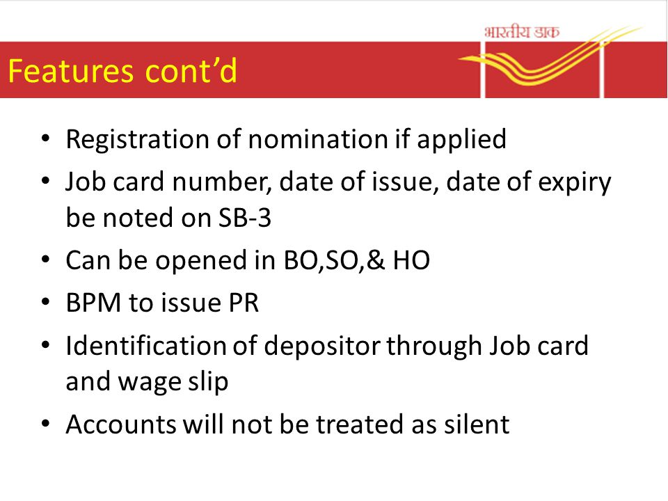 Features cont'd Registration of nomination if applied