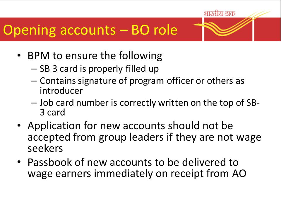 Opening accounts – BO role