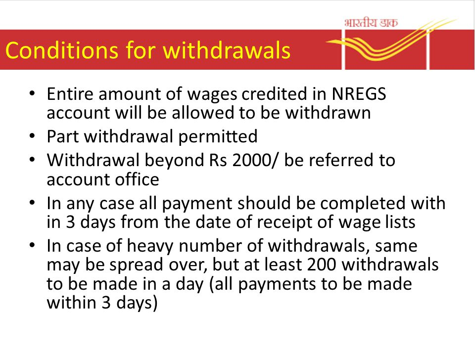 Conditions for withdrawals