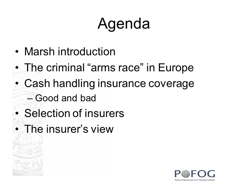 Agenda Marsh introduction The criminal arms race in Europe
