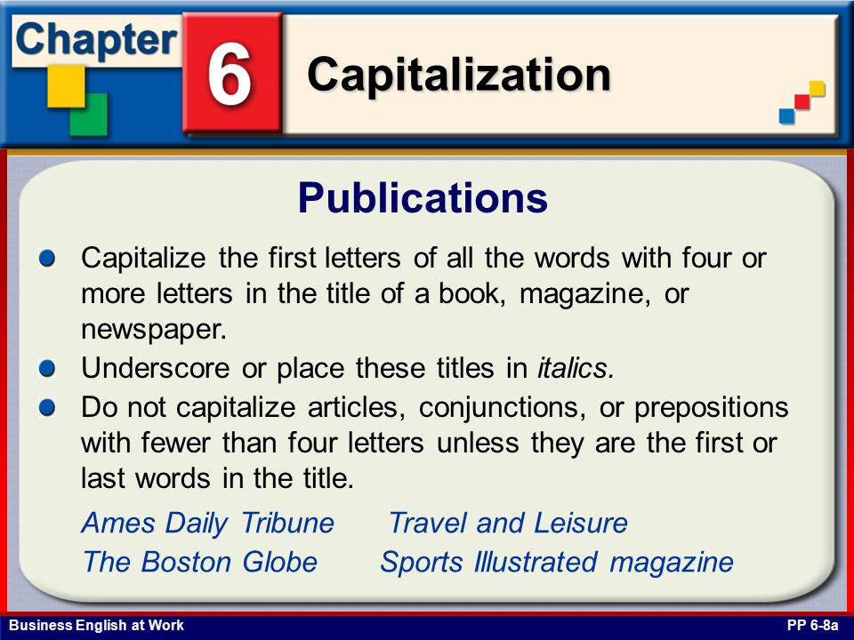 Publications Capitalize the first letters of all the words with four or more letters in the title of a book, magazine, or newspaper.
