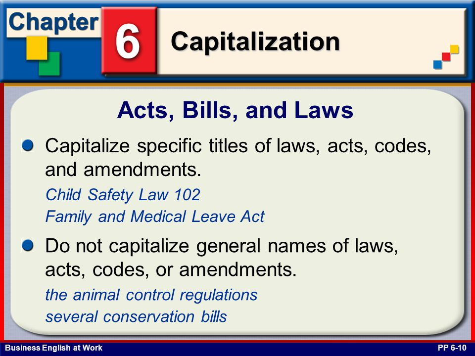 Acts, Bills, and Laws Capitalize specific titles of laws, acts, codes, and amendments. Child Safety Law 102.