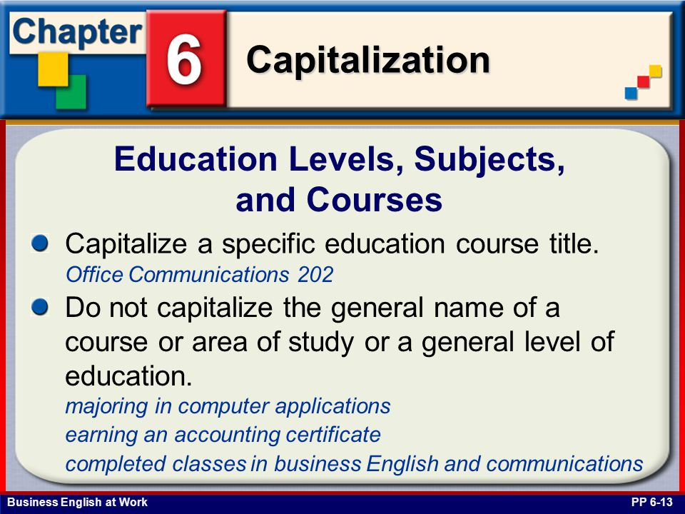 Education Levels, Subjects, and Courses