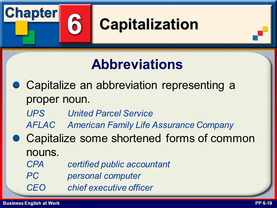 Abbreviations Capitalize an abbreviation representing a proper noun.