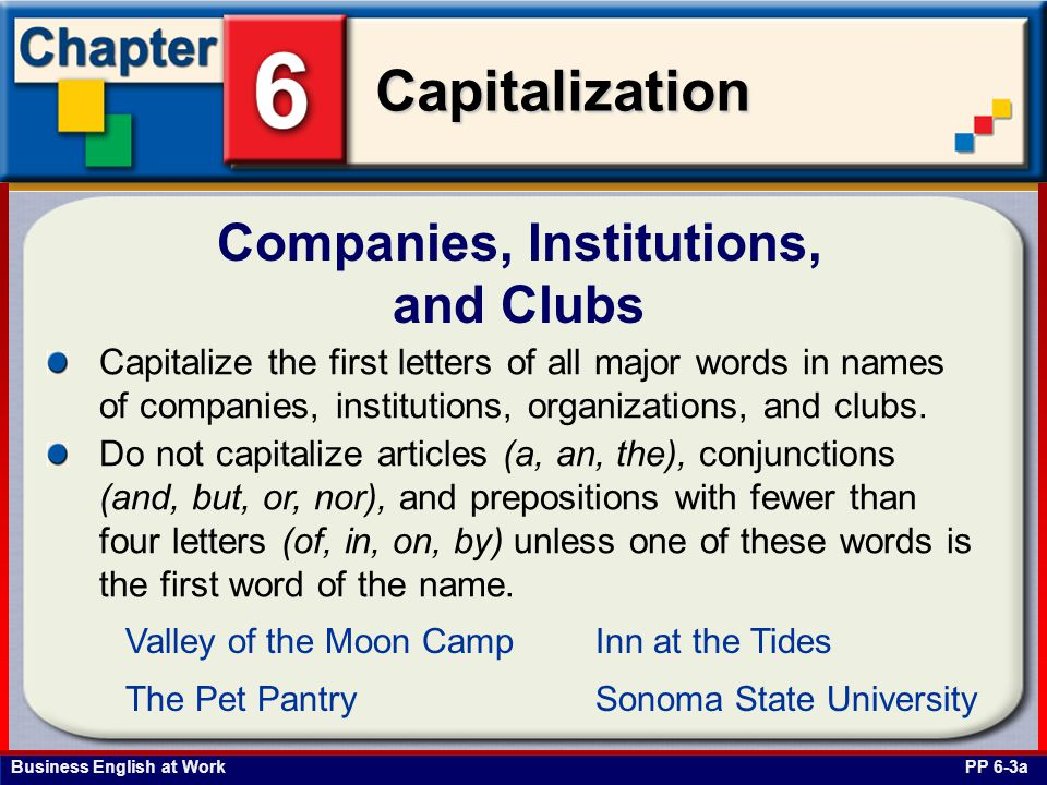 Companies, Institutions, and Clubs