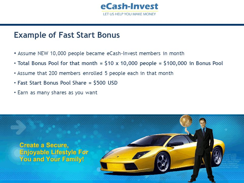 Example of Fast Start Bonus