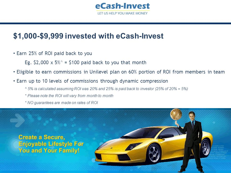$1,000-$9,999 invested with eCash-Invest