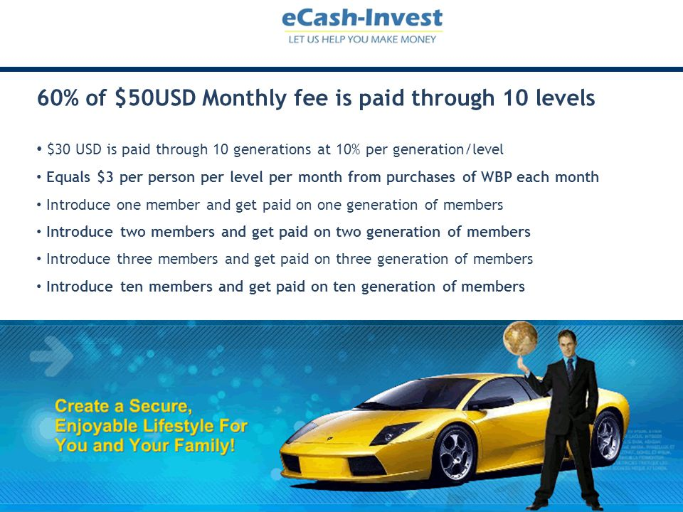60% of $50USD Monthly fee is paid through 10 levels