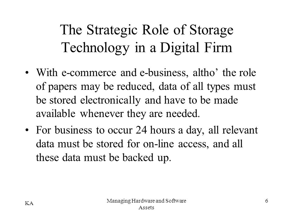 The Strategic Role of Storage Technology in a Digital Firm