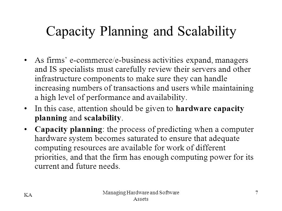 Capacity Planning and Scalability